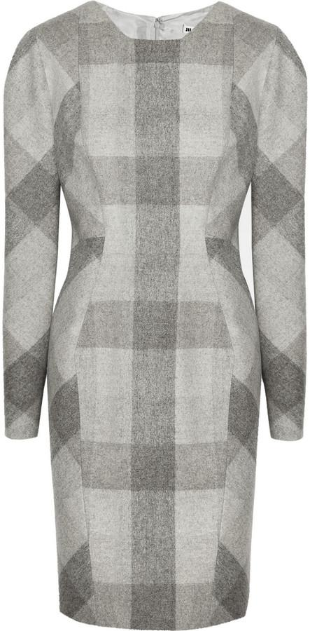 Plaid melton-wool dress