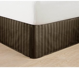 "Elegant Comfort Wrinkle Free - STRIPE Bed Skirt - Pleated Tailored 14"" Drop - All Sizes and Colors , Queen , Chocolate Brown"