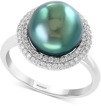 Effy Cultured Tahitian Pearl (10mm) & Diamond (1/3 ct. t.w.) Ring in 14k White Gold