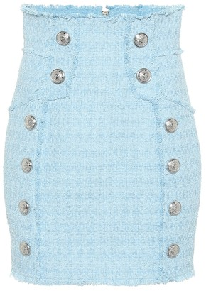 Balmain Cotton-blend tweed miniskirt