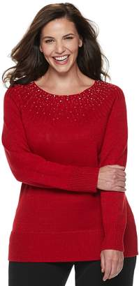 Apt. 9 Plus Size Embellished Yoke Crewneck Sweater