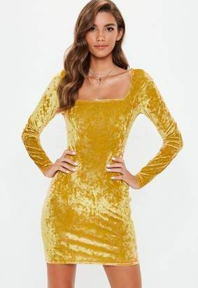 Missguided Gold Crushed Velvet Bodycon Dress