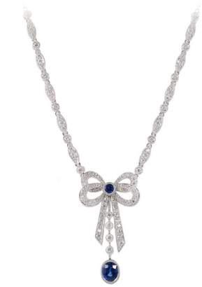 Platinum with 1.10ct. Sapphire & 1.12ct. Diamond Bow Pendant Necklace