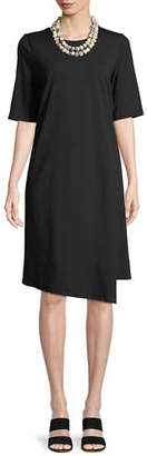 Eileen Fisher Half-Sleeve Asymmetric-Hem Cotton Shift Dress