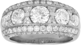 Platinum 2.80ct 5 Row Diamond Eternity Ring - Size M.5