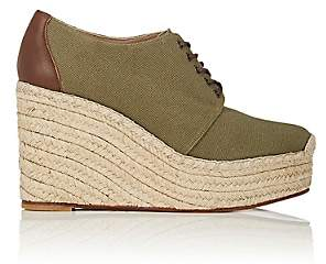Barneys New York WOMEN'S CANVAS PLATFORM-WEDGE ESPADRILLE OXFORDS-OLIVE SIZE 7