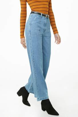 Forever 21 Wide Leg Ankle High-Waisted Jeans