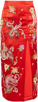 ATTICO Embroidered-dragon satin skirt