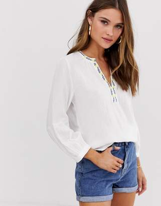 Esprit v neck embroidered blouse in white