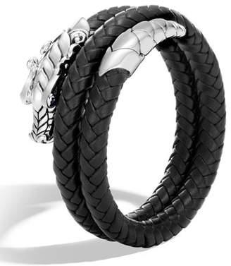 John Hardy Legends Naga Double Coil Leather Bracelet, Size S-M