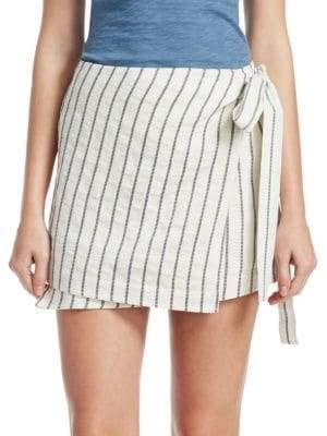 Theory Striped Wrap Skirt
