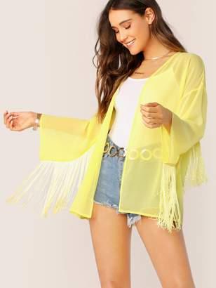 Shein Neon Yellow Open Front Fringe Detail Sheer Kimono