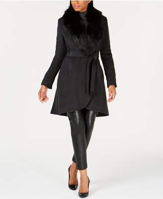 Calvin Klein Petite Faux-Fur-Collar Coat