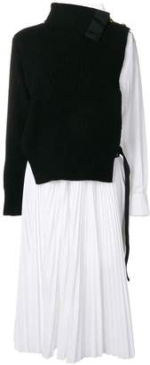Sacai contrast flared dress