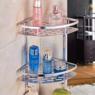 M.way Aluminum Wall Mounted 2-Tier Shower Caddy Shelf Bathroom Corner Bath Rack Storage Basket with Hooks