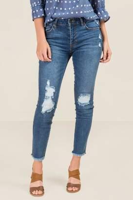 francesca's Harper Heritage Mid Rise Destructed Jeans - Medium Wash