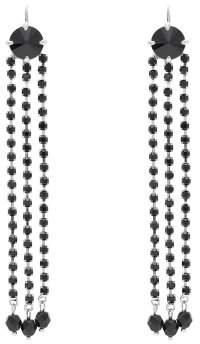 Miu Miu Crystal Tassel Drop Earrings - Womens - Black