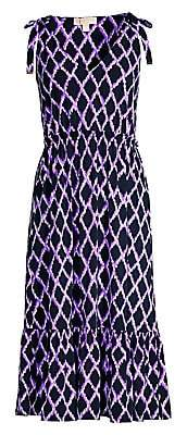 MICHAEL Michael Kors Women's Ikat Geometric Flounce Midi Dress