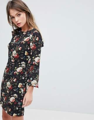Oasis Rose Print Flute Sleeve Shift Dress