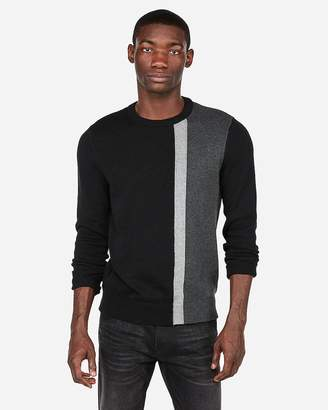 Express Vertical Color Block Crew Neck Sweater