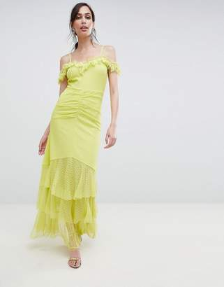 Bardot Asos Design ASOS DESIGN cami dobby ruffle fishtail maxi dress