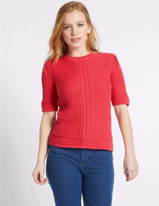 Marks and Spencer PETITE Pure Cotton Textured Jumper