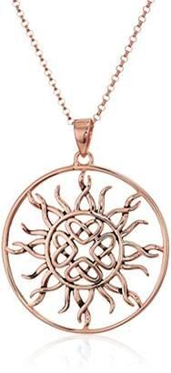 Celtic Sterling Oxidized Love Knot Sun Pendant Necklace