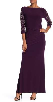 Marina Embellished Bead Long Sleeve Gown