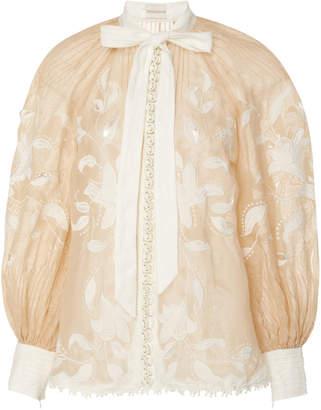 Zimmermann Corsage Lily Silk Linen Top