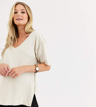 Asos DESIGN Maternity v-neck seam detail t-shirt in washed stone