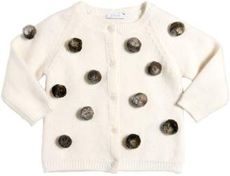 Il Gufo Merino Wool Cardigan W/ Pompoms