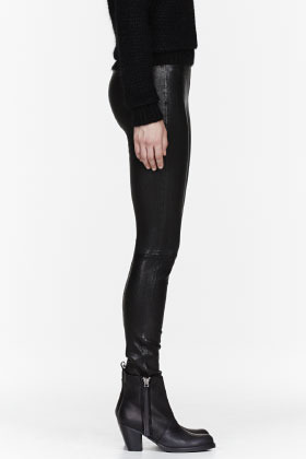 J Brand Black Textured Leather Leggings