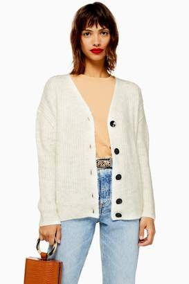 Topshop Womens Knitted Super Soft Ribbed Cardigan - Oatmeal