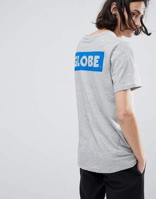 Globe T-Shirt With Back Sticker Logo Print In Gray