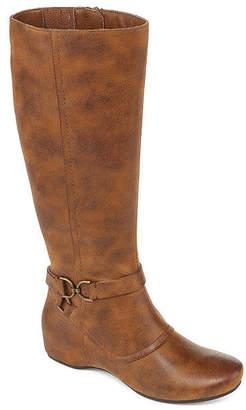 Yuu Asha Wide Calf Dress Boots Wedge Heel