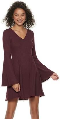 American Rag Juniors' Bell-Sleeve Fit & Flare Sweater Dress