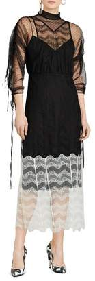 Burberry Fawne Color Block Lace Dress