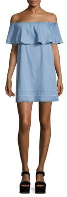 7 For All Mankind Off-The-Shoulder Chambray Dress $199 thestylecure.com