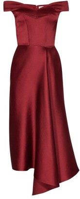 Alexander McQueen Off The Shoulder Silk Satin Midi Dress - Womens - Burgundy