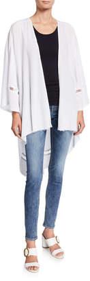 XCVI Miuccia Lattice Insert Lace-Up Back High-Low Kimono