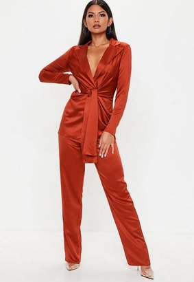 Missguided Tall Rust Satin Wide Leg Trousers
