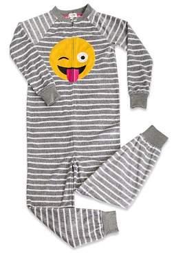 PJ Salvage Girls' Striped Emoji Pajamas - Little Kid