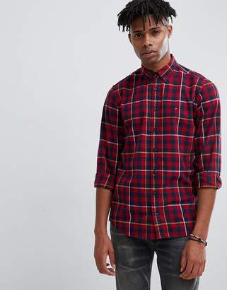 Tommy Hilfiger gingham plaid check shirt flag logo buttondown in burgundy/navy