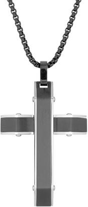 Lynx Men's Stainless Steel Black Cross Pendant Necklace