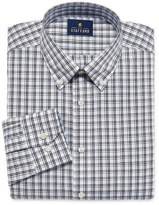 STAFFORD Stafford Executive Non-Iron Cotton Pinpoint Oxford Big And Tall Long Sleeve Plaid Dress Shirt