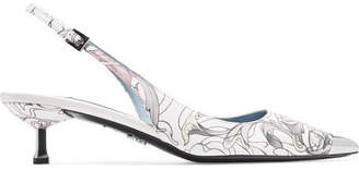 Metallic-trimmed Printed Leather Slingback Pumps - White