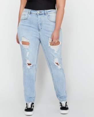 Addition Elle L&L X Jordyn Woods Heavy Ripped High Waist Mom Jeans