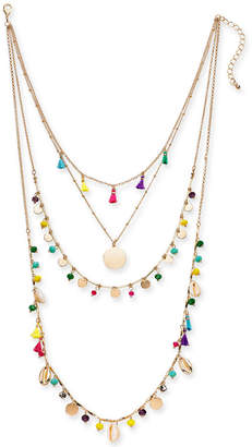 """INC International Concepts I.n.c. Gold-Tone Bead & Tassel Layered Necklace, 16"""" + 3"""" extender"""