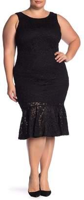 Marina Glitter Lace Peplum Hem Dress (Plus Size)