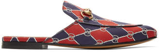 Gucci Navy and Red Kings GG Slippers